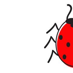 Half ladybug isolated