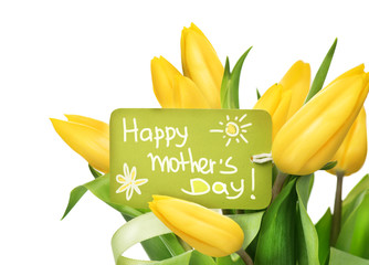Fotoväggar - Mother's Day yellow tulips flower bunch with greeting card