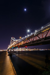 Fotomurales - SF Bay Bridge at Night