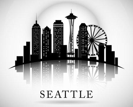 Seattle city skyline. Vector city silhouette