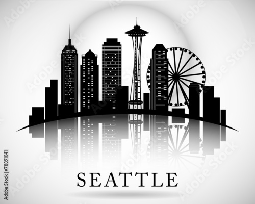 Quot Seattle City Skyline Vector City Silhouette Quot Stock Image