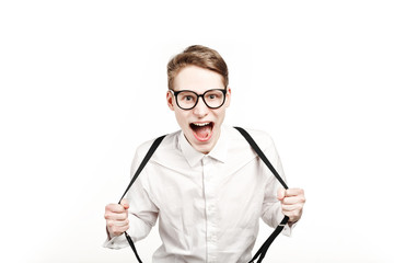 young man in glasses surprises and shock screaming