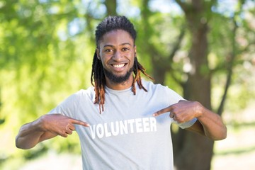 Happy volunteer in the park