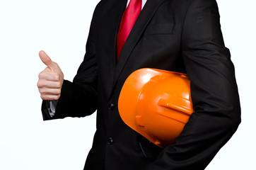 Obraz Men in suit with safety helmet - fototapety do salonu