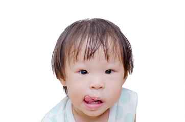Asian girl with snot flowing from her nose over white background