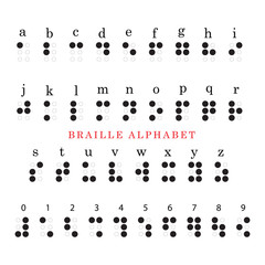 vector braille alphabet and numbers system.