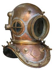 Old antique metal scuba helmet on white background