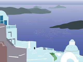 Santorini and the sea