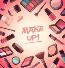 A lot of cosmetics for makeup. Vector illustration