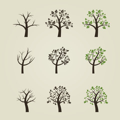 Set of different trees silhouette with roots and branches for