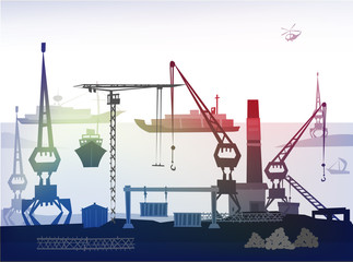 City port illustration Fototapete