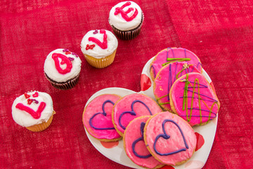 Valentines Day - cupcakes spelling LOVE