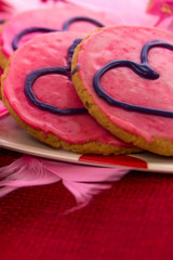 Valentines Day - pink cookies and cupcakes with hearts