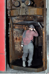 miner down in the lift under the ground