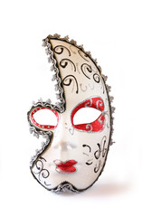dramatic and mysterious half moon carnival mask isolated on whit