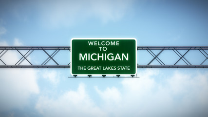 Michigan USA State Welcome to Highway Road Sign Wall mural