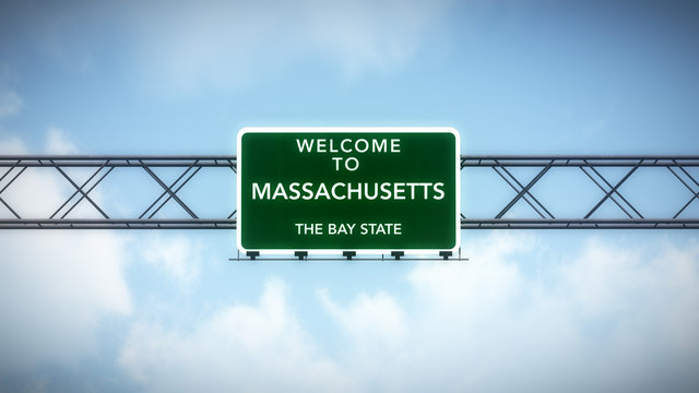 Massachusetts USA State Welcome to Highway Road Sign