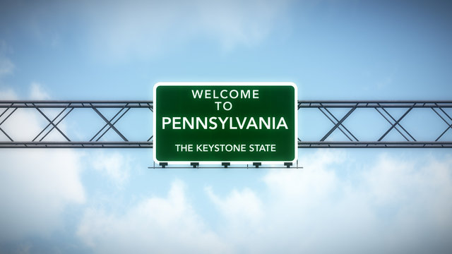 Pennsylvania USA State Welcome to Highway Road Sign