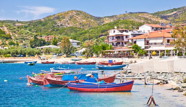 Beautiful Ouranoupolis harbour on Athos, Greece.