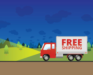 Free Shipping Truck Driving at Night