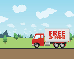 Free Shipping Truck Delivering Mail