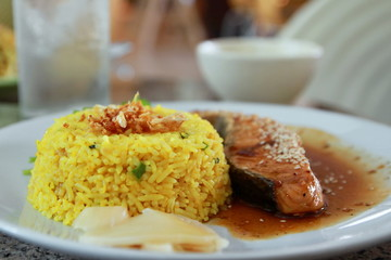 Fried Salmon sauce teriyaki with rice