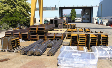 Plates and metal profiles stocked in a factory