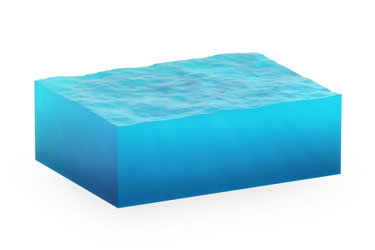 isolated cube of water on a white background.