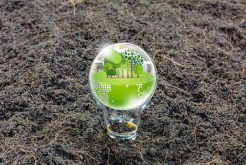 Eco friendly earth in light bulb