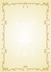 Golden frame with wedding rings and glasses for congratulation