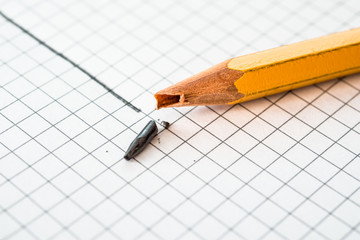 Pencil broke during drawing lines