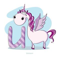 Cartoons Alphabet - Letter U with funny Unicorn