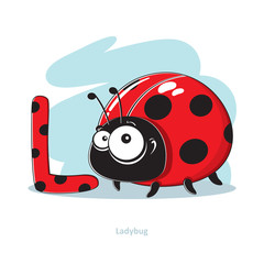 Cartoons Alphabet - Letter L with funny Ladybug