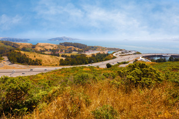 California landscape overlooking freeway and San Francisco Bay
