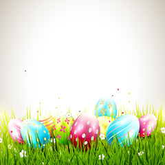 Sweet Easter background with colorful eggs and copyspace
