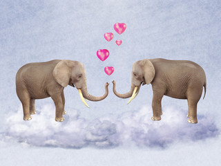 Two elephants in love.