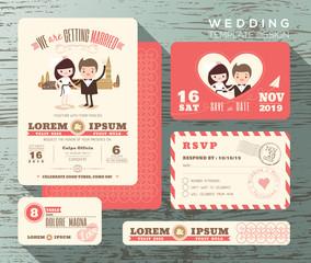 Cute groom bride couple wedding invitation set design Template