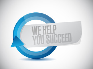 we help you succeed cycle sign illustration