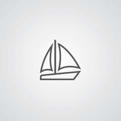sail boat outline thin symbol, dark on white background.