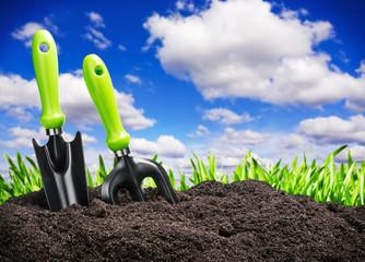 tools garden soil on nature