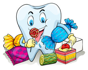 A tooth with candies