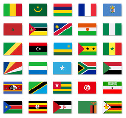 Flags of Africa countries.Set 2