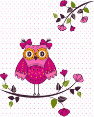 Beautiful girl owl on a branch