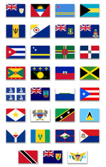 Caribbean Countries Flags Set.