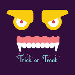 Trick or tread. Vector Illustration of Halloween background.