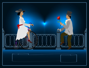 lady on a bicycle near a gentleman with a flower in her hand.