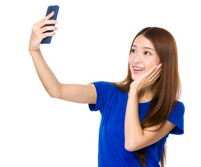 Asian woman talk selfie on cellphone