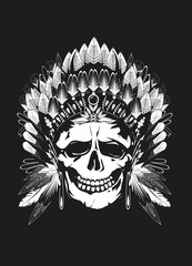Häuptling Skull schwarzer Hintergrund