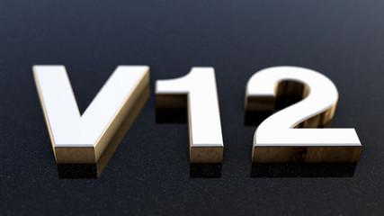 V12 sign, label, badge, emblem or design element, 3d render.