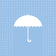 White umbrella symbol on blue background. Background with rain